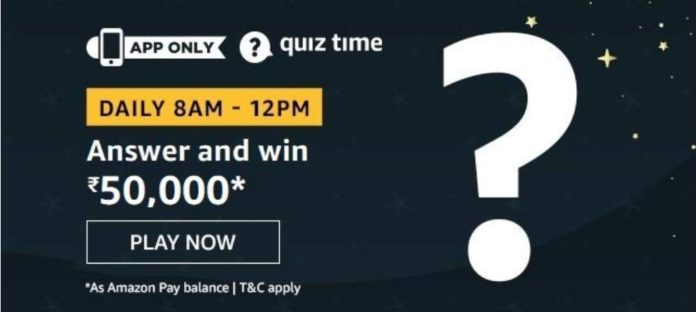 Amazon's Quiz Answers and Win 50,000
